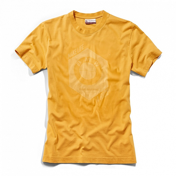 Мужская футболка BMW Motorrad T-shirt, Men, Make Life a Ride, Yellow ôîòî